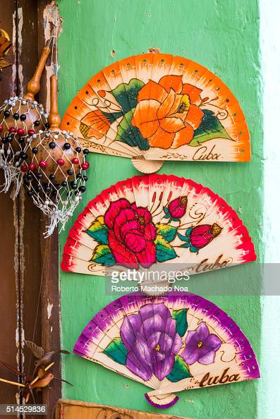 Oriental homemade fans for sale as souvenirs in the