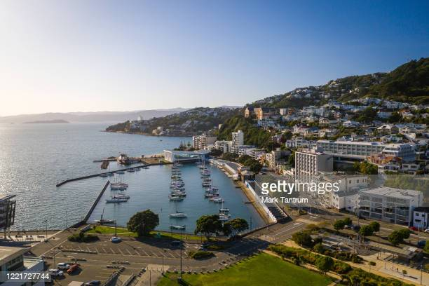 Oriental Parade and Bay on April 29 2020 in Wellington New Zealand New Zealand's lockdown measures were eased slightly as the country moved to...