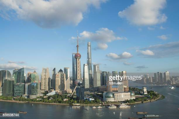 Oriental Pearl Tower and skyscrapers in Pudong along the Huangpu river on 24 August 2017 in Shanghai China