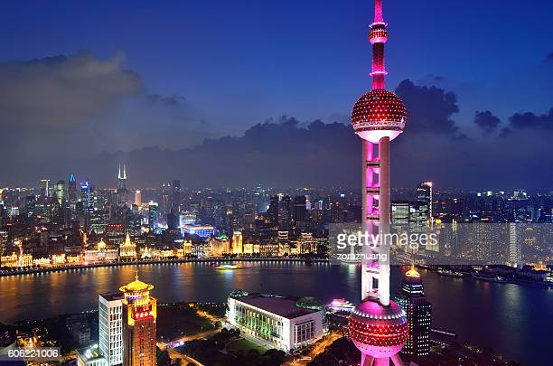 Oriental Pearl Tower and the Bund at Night