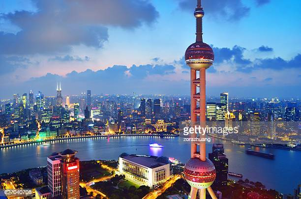 Oriental Pearl Tower and the Bund Skyline, Shanghai