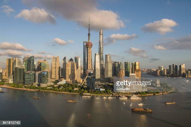 Oriental Pearl Tower Shanghai tower Jin Mao tower Pudong ShangriLa and skyscrapers in Pudong along the Huangpu river 23 August 2017 in Shanghai China
