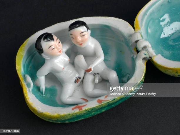 Oriental porcelain melon Rient 20th century Detail of a male and female engaged in foreplay inside a porcelain melon Orient c 1936
