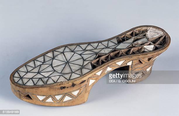 Oriental wooden clogs inlaid with mother of pearl India 19th century Vigevano Castello Visconteo Sforzesco Museo Della Calzatura E Della Tecnica...