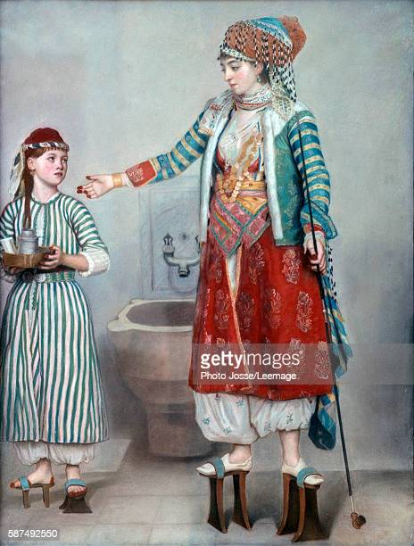 Turkish Woman with her Servant. The two women wear huge pattens used in the hammam. Pastel by Jean Etienne Liotard , 1742. 0,71 x 0,53 m. Art and...