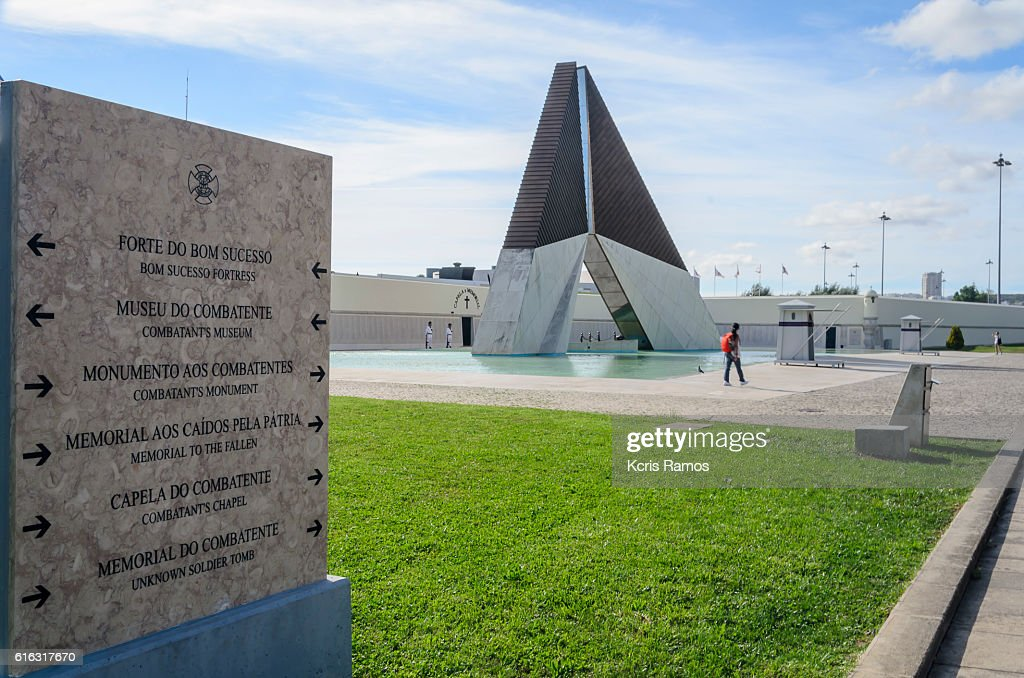 Orientation board to the Overseas Combatants Monumentr in Belem Portugal : Stock Photo