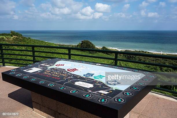 Orientation table showing the DDay landing beaches at the Normandy American Cemetery and Memorial Omaha Beach CollevillesurMer Normandy France