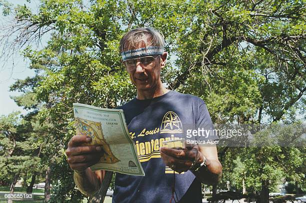 Orienteering during the 1st National Senior Games or Senior Olympics in St Louis Missouri July 1987