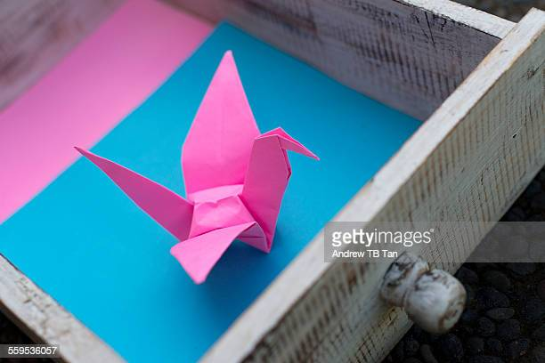Origami bird in a drawer