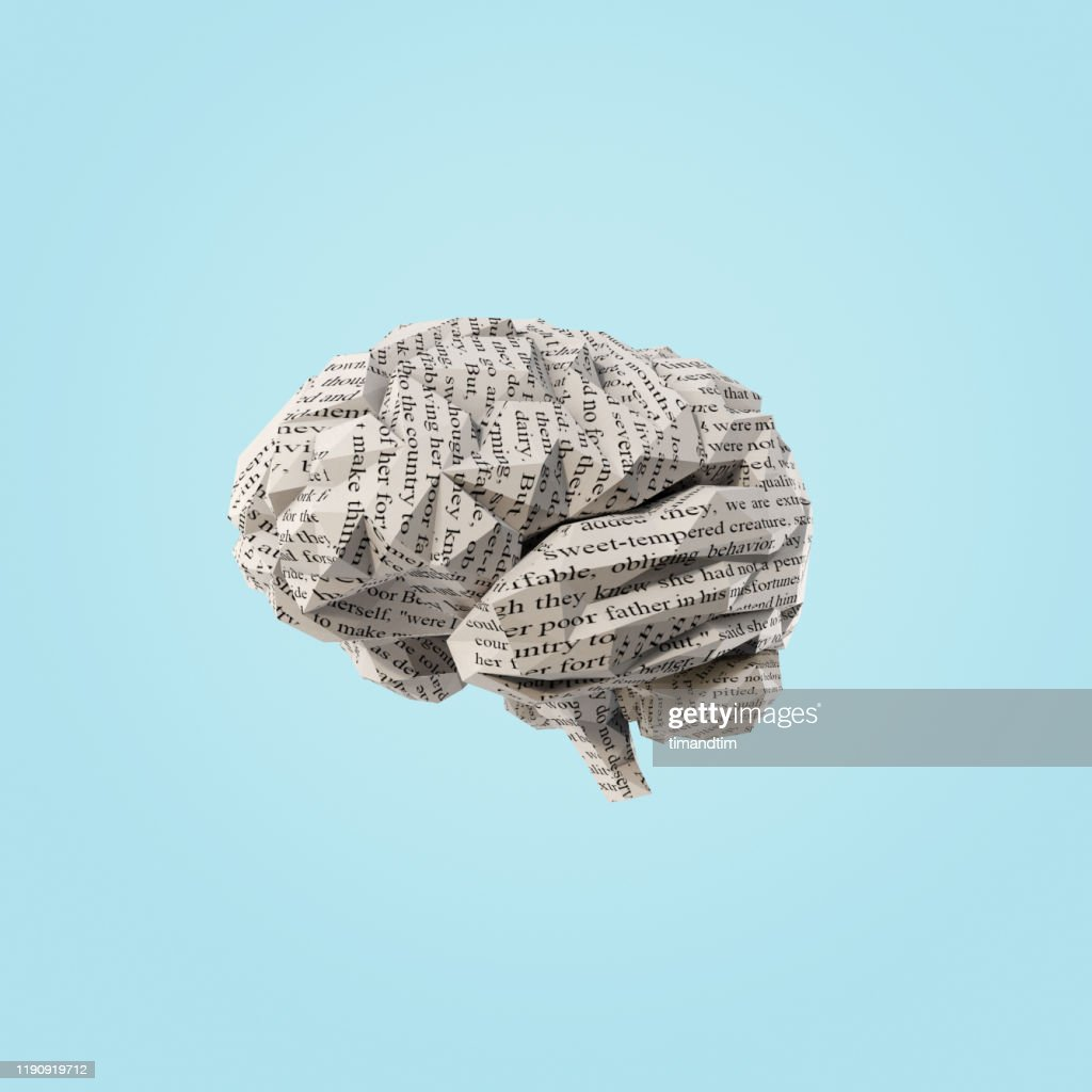 Origami brain made of paper with text : Stock Photo