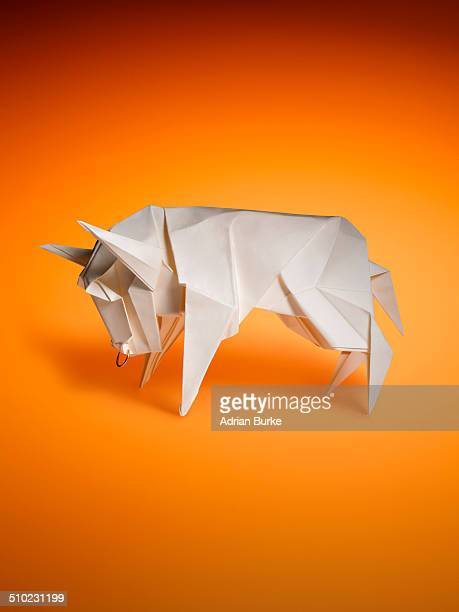 origami bull - animal representation stock pictures, royalty-free photos & images