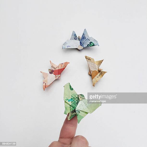 Origami butterflies made of paper money