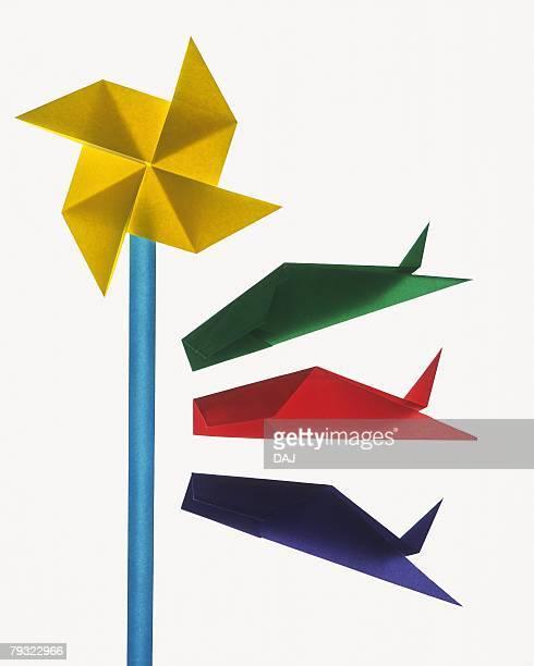 Origami Carp streamers, High Angle View