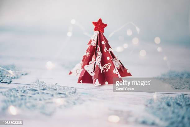 origami christmas tree - craft product stock pictures, royalty-free photos & images