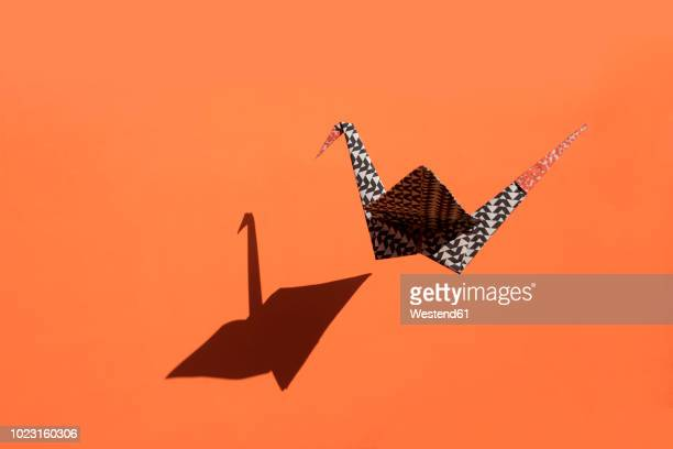 origami crane, orange background, shadow, copy space - hovering stock photos and pictures