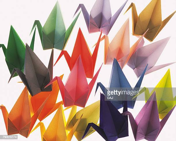Origami Cranes, High Angle View