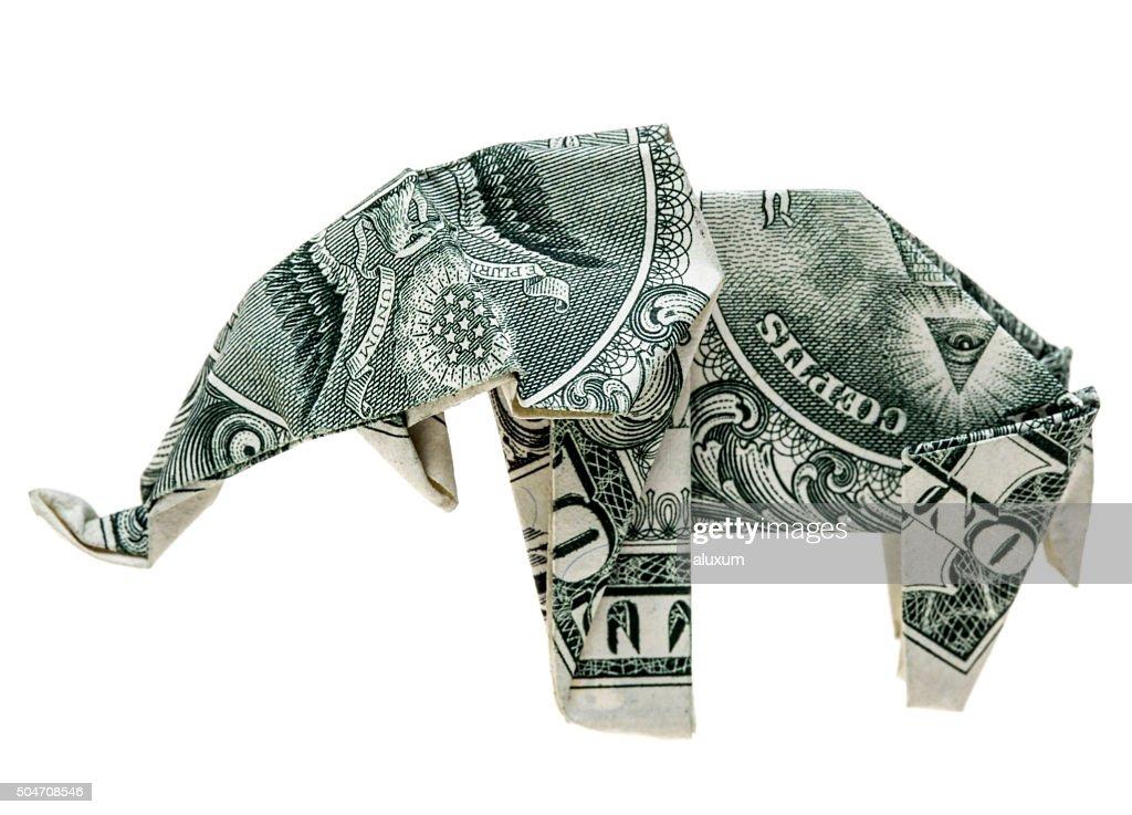 Origami dollar elephant : Stock Photo