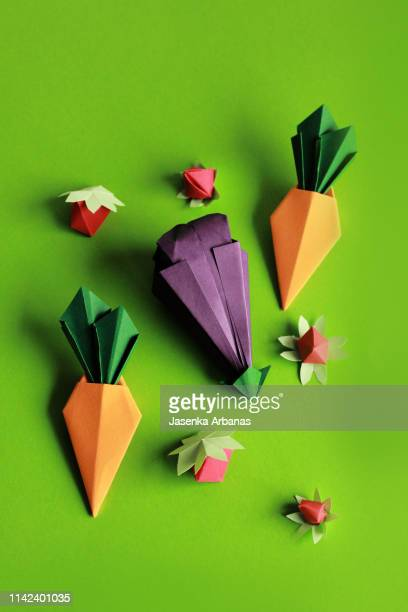 origami  eggplant ,carrots  and strawberries. - seres vivos fotografías e imágenes de stock