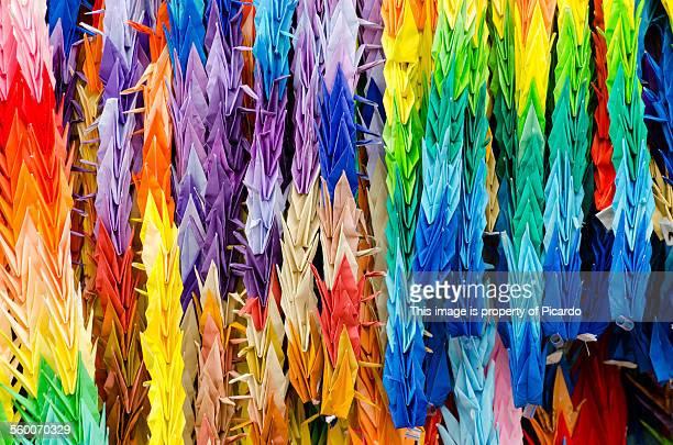 origami herons - hiroshima city stock photos and pictures