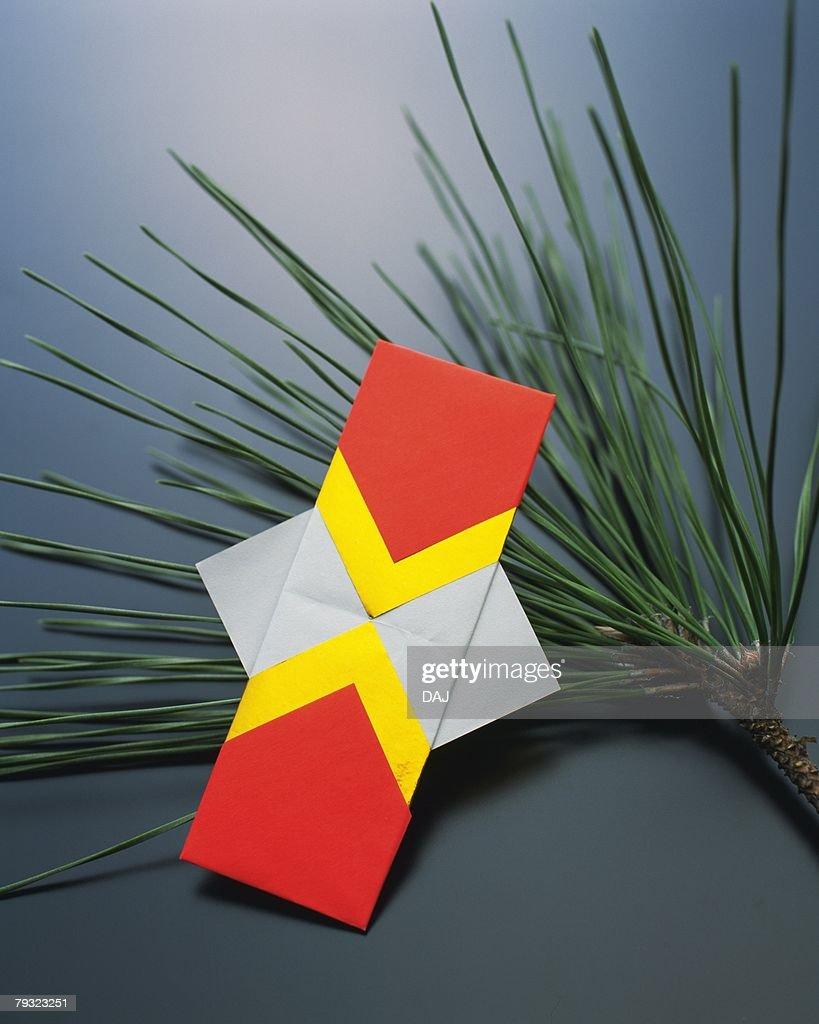 Origami Japanese New Years Decoration Kadomatsu High Angle ...