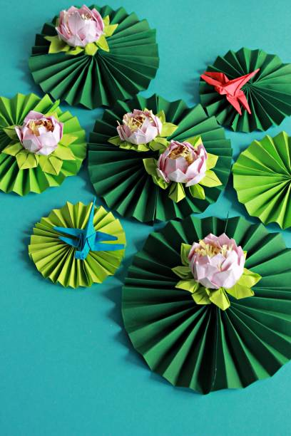 Origami lotuses and origami dragonflies