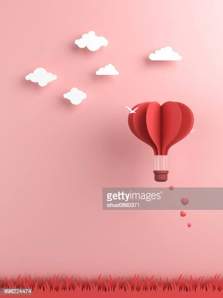 origami made hot air balloon and cloud - valentine's day holiday stock pictures, royalty-free photos & images