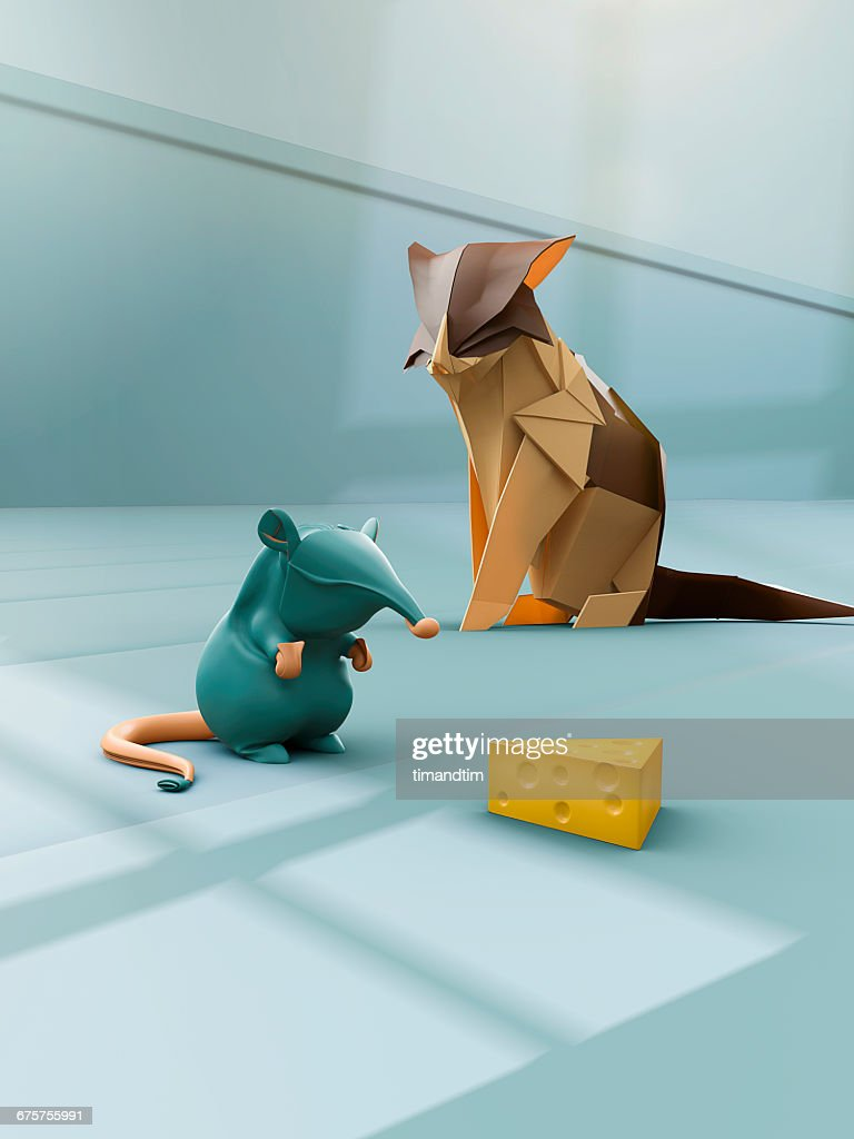 Origami Mouse Cat And A Piece Of Cheese In A Room Stock Photo
