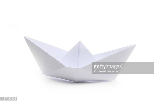 Origami paper boat, side view