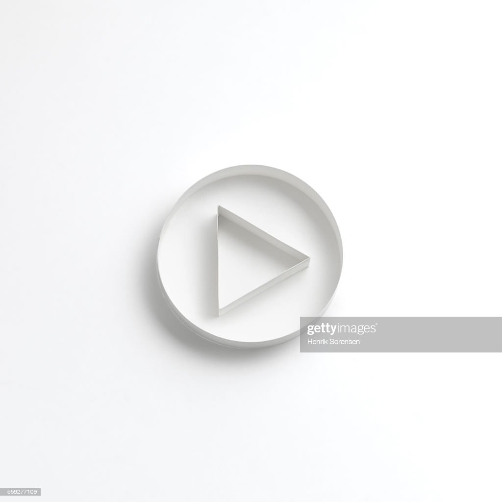 Origami play button : Stock Photo