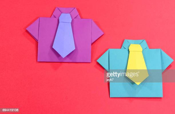 origami shirt and tie - purple shirt stock photos and pictures