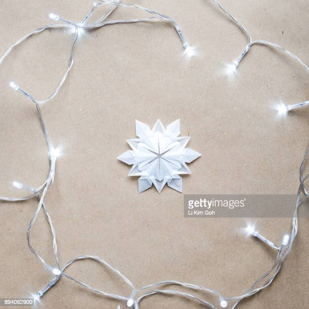 Origami Snowflake with Christmas lights