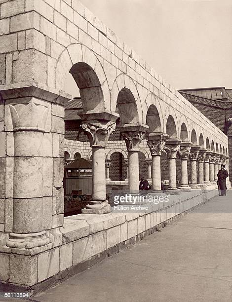 Original 12th century 'Cuxa Cloister' of St Michael's Monastery at Fort Tryon Park in New York circa 1938 Sculptor George Gray Bernard took the...