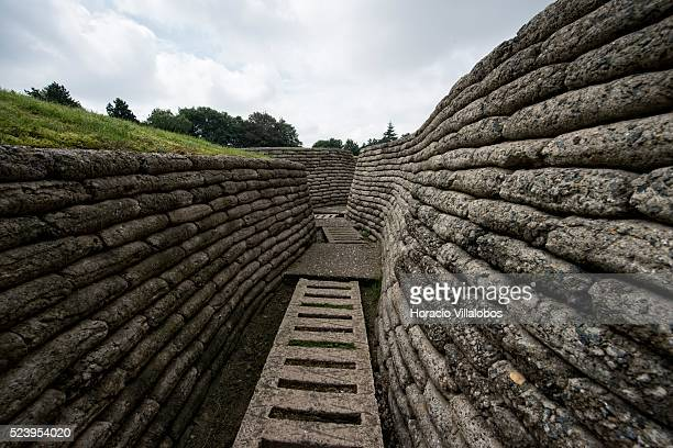 Original Allied and German trenches, preserved using concrete sandbags and duckboards, at the Canadian National Vimy Memorial, in Vimy, France, 21...