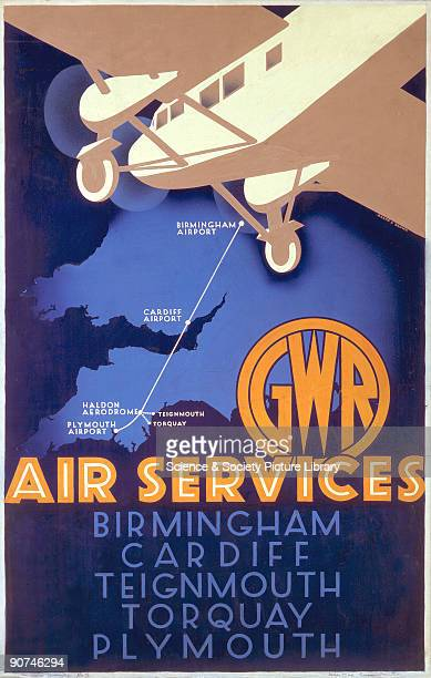 Original artwork produced for a Great Western Railway Air Services poster to promote the company�s air services between Plymouth Airport Haldon...