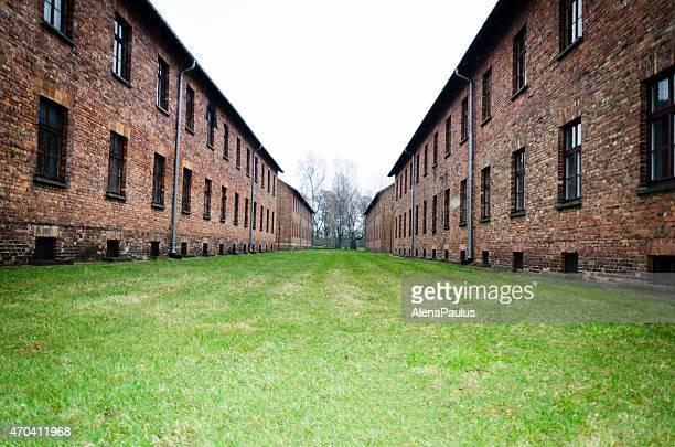 Original brick barracks at the Auschwitz in Poland