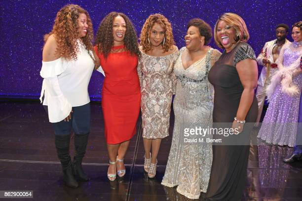 Original Broadway Effie White actress Jennifer Holliday poses onstage with current Effie White actresses Karen Mav Marisha Wallace Amber Riley and...