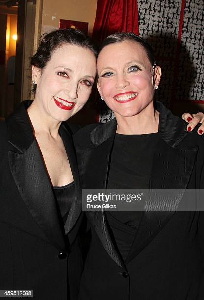 Original Broadway Revival stars Bebe Neuwirth and Ann Reinking pose backstage at the 7486th Milestone performance of 'Chicago' on Broadway at The...