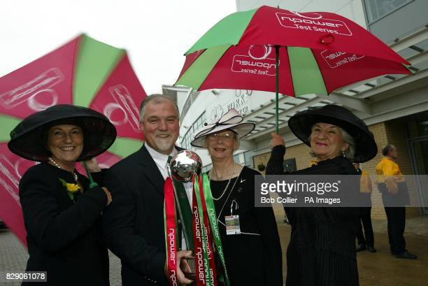 Original Calendar girls from left to right Angela Baker Beryl Banforth and Lynda Logan from Yorkshire with former England cricketer Mike Gatting...
