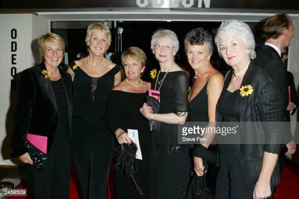 Original calendar girls Tricia Stewart Angela Baker Beryl Bamforth Lynda Logan Christine Clancy and Ros Fawcett attend the gala premiere of Calendar...