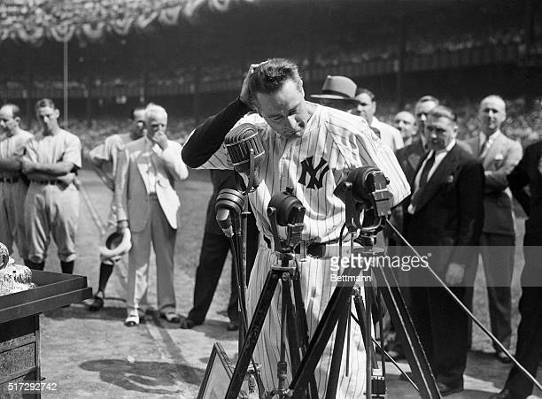 7/4/39New York Lou Gehrig the 'Iron Horse' of baseball who was forced to the bench by amyotrophic lateral scherosis after playing 2130 consecutive...