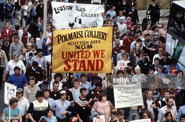 Original caption: A General View of the Miners Rally in London.
