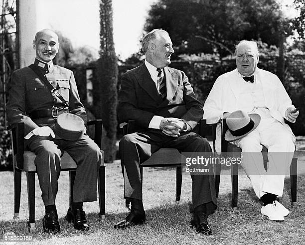 Ca. 1943-Cairo, Egypt- This photo, just released in Washington, shows : Generalissimo Chiang Kai-Shek; President Franklin D. Roosevelt and Prime...