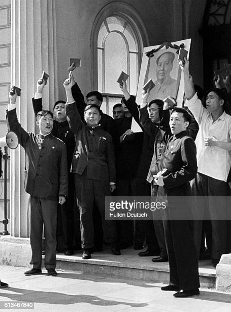 Chinese Delegation Holding Up 'Little Red Books' And Banner Of Mao Tse Tung