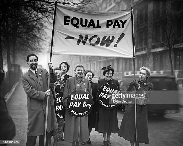 Equal Pay For Women Supporters At Millbank Following A Meeting At The Pankhurst Statue