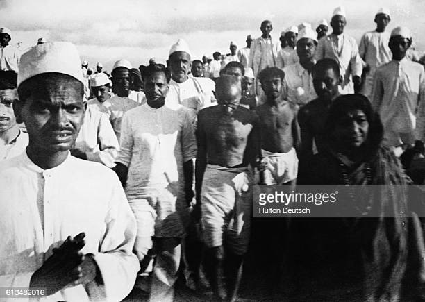 Gandhi On The Salt March 1930 Additional Hulton Text Protesting against the tax Information from photo Gandhi Mohandas Karamchand known as Mahatma...