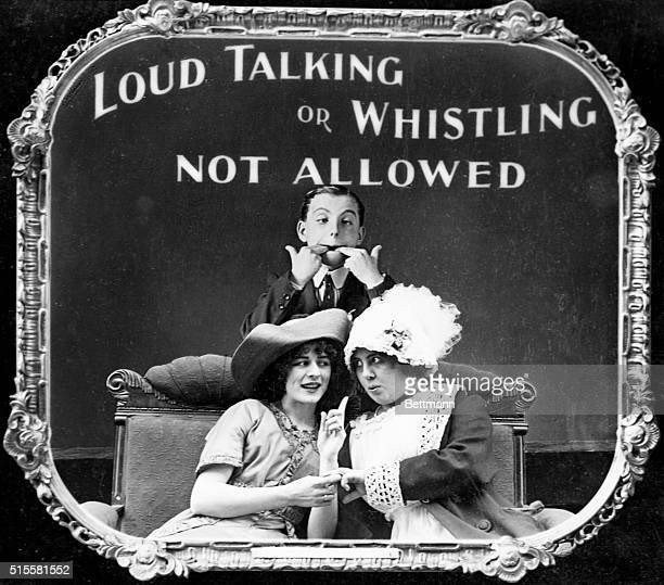 Lantern slides shown in old time movies Photo Loud Talking or Whistling Not Allowed