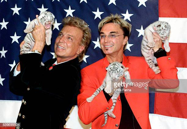 : Magicians Siegfried & Roy introduce three six-day-old white tiger cubs born at The Mirage, bringing the total of their exotic cat family to 58....