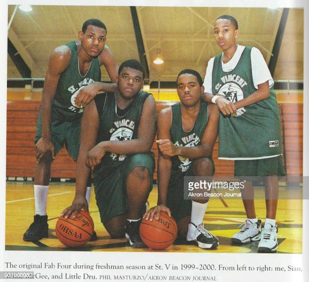 Original Caption The original Fab Four during freshman season at St V in 19992000 From left to right LeBron James Sian Willie McGee and Little Dru