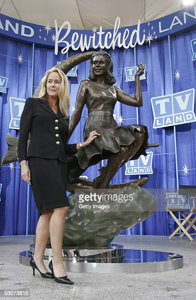 Original cast member Erin Murphy of the television show 'Bewitched' which aired 19641972 attends the unveiling of a statue in Lappin Park dedicated...