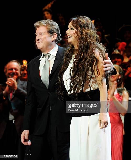 Original cast members Michael Crawford and Sarah Brightman bow on stage during the 25th Anniversary performance of Andrew Lloyd Webber's The Phantom...